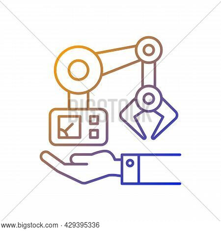 Machinery Owning Gradient Linear Vector Icon. Manufacturing Robot Arm. Industrial Plant Equipment. T
