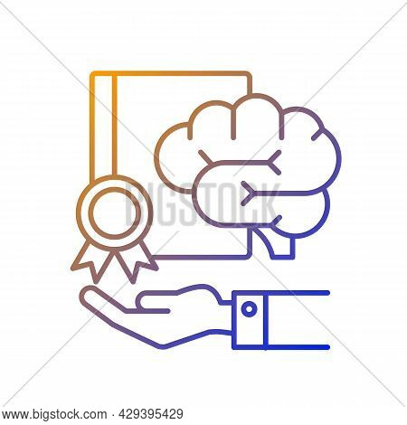 Corporate Intellectual Property Gradient Linear Vector Icon. Company Asset. Hand Holding Brain And C