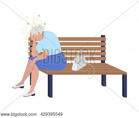 Old Lady Feeling Dizzy Semi Flat Color Vector Character. Sitting Figure. Full Body Person On White.
