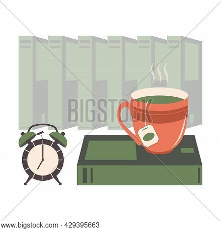 A Cup Of Tea Stands On A Green Book Against The Backdrop Of A Stack Of Paper Textbooks In The Librar