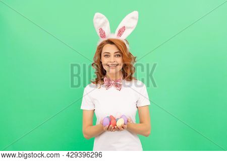 Happy Redhead Woman In Bunny Rabbit Ears With Painted Eggs, Easter Egg Hunt