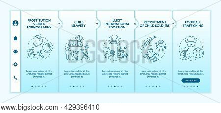 Trafficking Of Children Blue Onboarding Vector Template. Responsive Mobile Website With Icons. Web P
