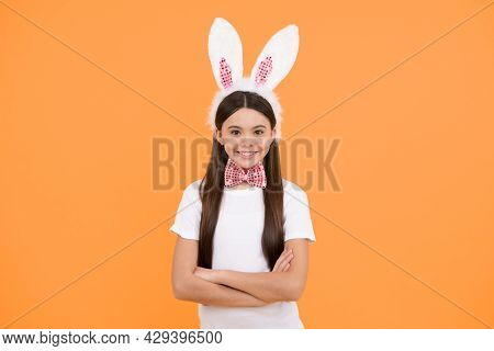 Happy Easter Teen Girl In Bunny Ears And Bow Tie, Easter