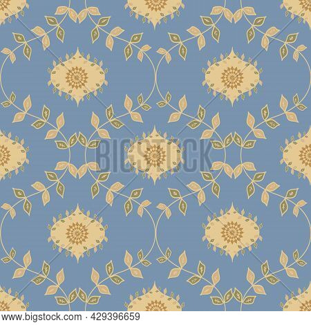 Ogee Foliage Vector Seamless Pattern Background With Hand Drawn Leaves And Ornamental Flowers. Elega
