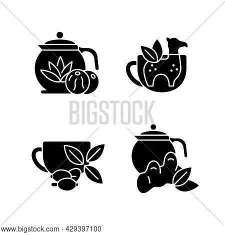 Medicinal Tea Black Glyph Icons Set On White Space. Ginger, Lemon And Honey Beverage. Rosehip Infusi