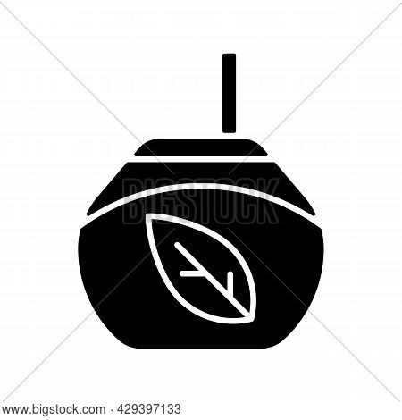 Tea Gourd Cup Black Glyph Icon. Traditional Latin Beverage. Utensil For Yerba Mate. Vessel For Mate