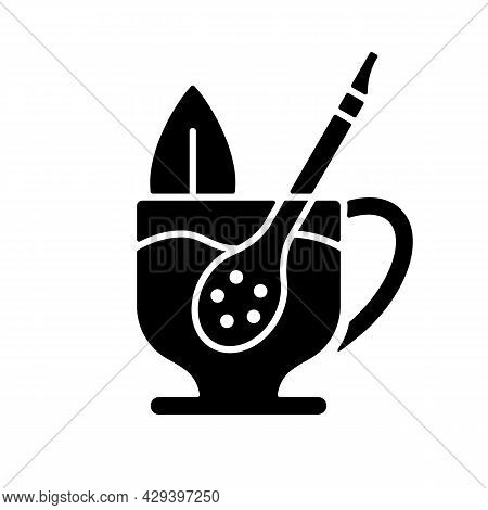 Mate Straw Black Glyph Icon. Stick That Filters Dried Mate Tea Parts. Bombilla Tool Made From Metal