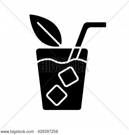 Iced Tea Black Glyph Icon. Refreshing Summer Beverage Served In Glass. Cold Sweet Drink With Lemon A