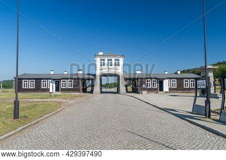 Rogoznica, Poland - June 3, 2021: Gross-rosen Entrance Gate With The Phrase Arbeit Macht Frei In For