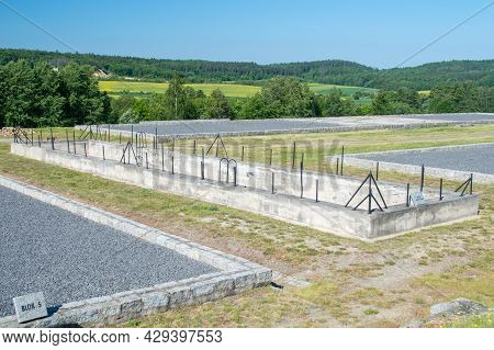 Rogoznica, Poland - June 3, 2021: Fire Fighting Pool Former Nazi Concentration Camp Gross-rosen.