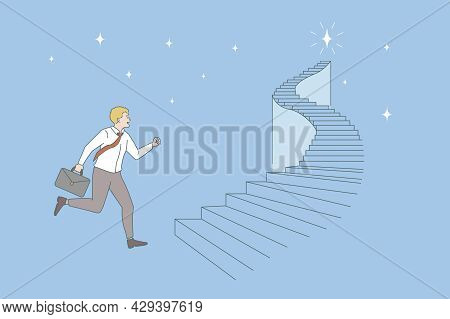 Opportunities And Business Career Concept. Young Smiling Businessman With Suit Running On Ladder Try