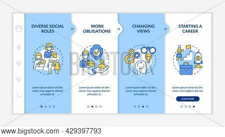 Diverse Social Roles Onboarding Vector Template. Responsive Mobile Website With Icons. Web Page Walk