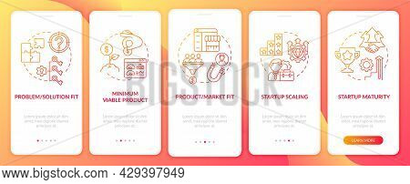 Startup Lifecycle Phases Red Onboarding Mobile App Page Screen. Business Launch Walkthrough 5 Steps