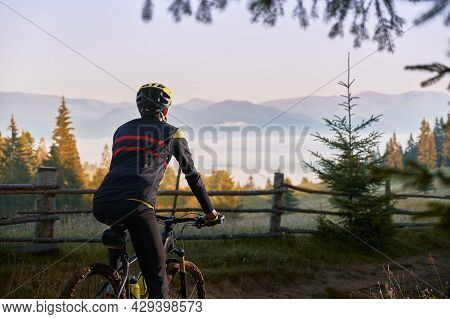 Cropped Back View Of Male Cyclist In Cycling Suit Riding Bike With Hills On Background. Man Bicyclis
