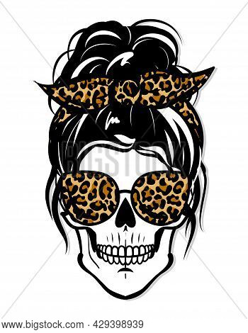 Beautiful Woman Skull With Aviator Sunglasses And Cheetah Print Bandana. Lady Mom Skull With Messy B