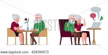 Elderly Couple Retired Grandparents Sitting In Cafe And Chatting. Old People On Laptop Online Web Co