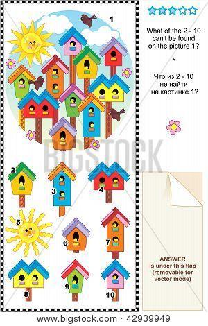 Spring birdhouses visual logic puzzle