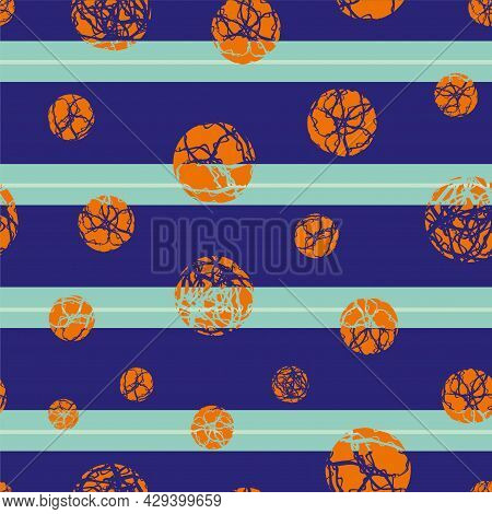 Marble Effect Circles Vector Striped Seamless Pattern Background. Backdrop With Orange Marbling Sten