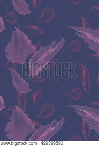 Abstract Figures Of Delicate Lilac And Purple Color, Resembling Leaves Or Feathers.