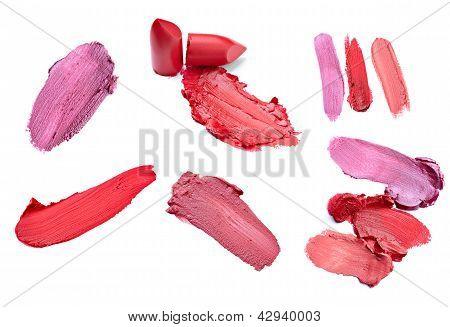 Various lipstick smudges