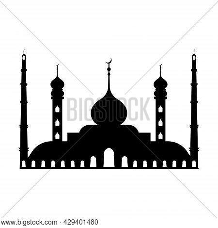 Large Muslim Mosque, A Place Of Worship To Allah, Vector Icon Silhouette Mosque Sign Of Islam