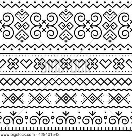 Slovak Tribal Folk Art Vector Seamless Black Geometric Pattern With Inspired By Traditional Painted