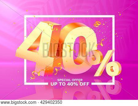 40 Off. Discount Creative Composition. 3d Golden Sale Symbol With Decorative Objects, Golden Confett