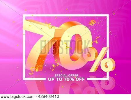 70 Off. Discount Creative Composition. 3d Golden Sale Symbol With Decorative Objects, Golden Confett
