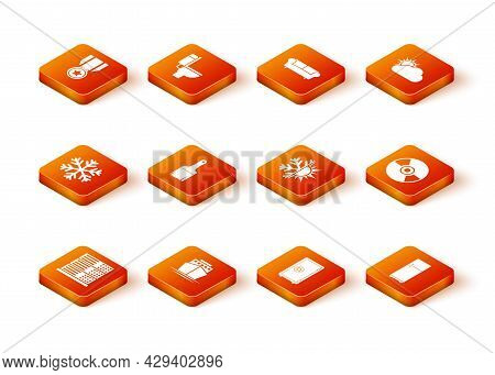 Set Server, Data, Web Hosting, Ship, Snowflake, Paint Brush, Safe And Sun And Snowflake Icon. Vector
