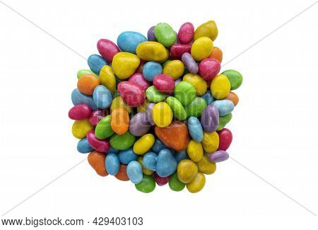 Pile Of Colorful Candy Dragee, Multi-colodes Glazed Raisins Isolated On White Background.heap Of Mul