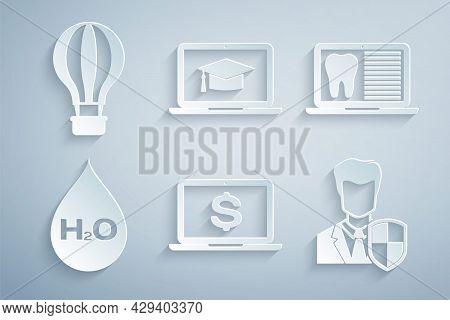 Set Laptop With Dollar, Dental Card, Water Drop H2o, User Protection, Graduation Cap Laptop And Hot