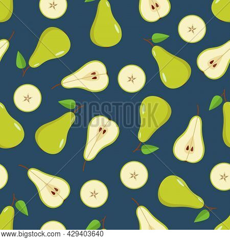 Seamless Pattern Green Pear Is Whole, Half And A Pear Slice. Vector Illustration Of Ripe Juicy Fruit