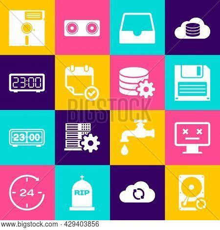 Set Hard Disk Drive Hdd Sync Refresh, Dead Monitor, Floppy, Social Media Inbox, Calendar With Check