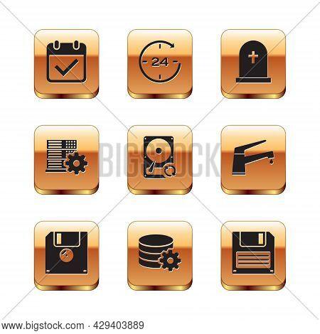 Set Calendar With Check Mark, Floppy Disk, Setting Database Server, Hard Drive Hdd Sync Refresh, Ser