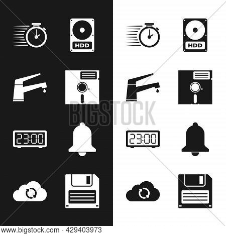 Set Floppy Disk In The 5.25-inch, Water Tap, Stopwatch, Hard Drive Hdd, Digital Alarm Clock And Ring