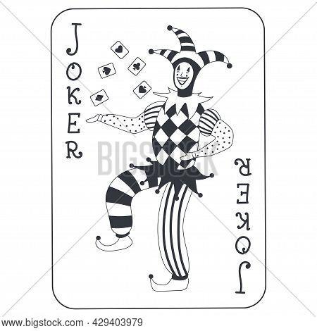 Joker Poker Card Vector Cartoon Illustration Isolated On White Background.