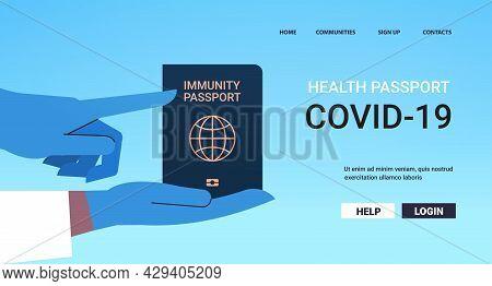 Doctor In Gloves Holding Global Immunity Passport Risk Free Covid-19 Re-infection Coronavirus Immuni