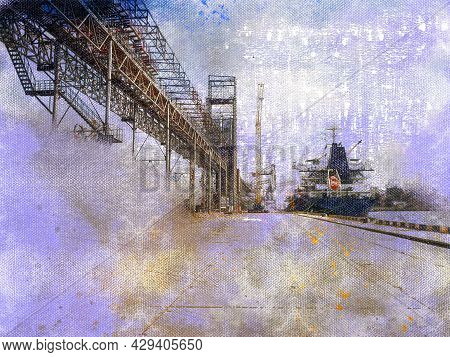 Digital Watercolor Painting. Modern Art. Industry. Export Of Grains. Agribusiness. Loading Vessel Do