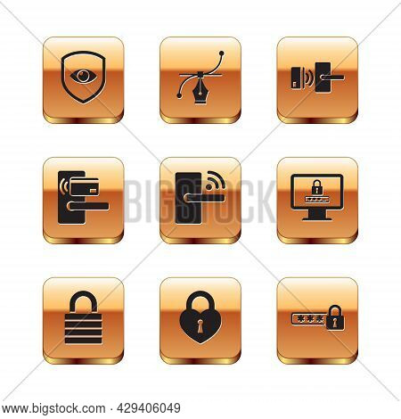 Set Shield And Eye, Lock, Castle In The Shape Of Heart, Digital Door Lock With Wireless, And Icon. V