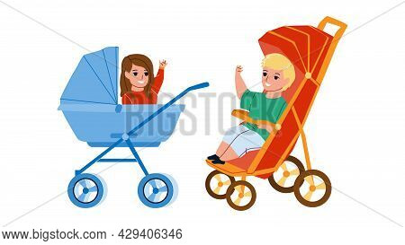 In Baby Carriage Sitting Toddler Children Vector. Happiness Little Boy And Girl Sit In Baby Carriage