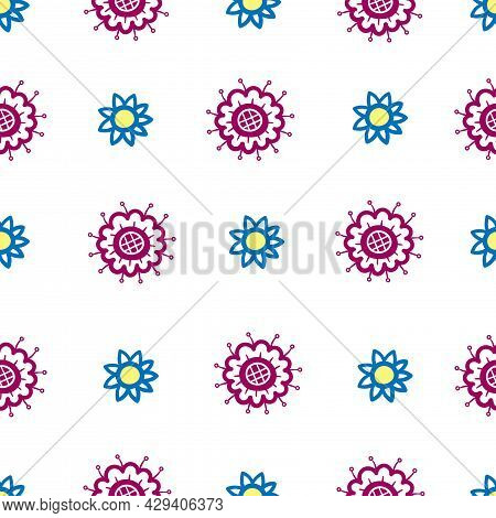 Seamless Pattern With  Cartoon Chrysanthemums On White Background. Floral Print With Plants. Abstrac