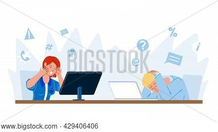 Digital Stress Feeling Employees In Office Vector. Frustrated Man And Woman Working On Computer At W