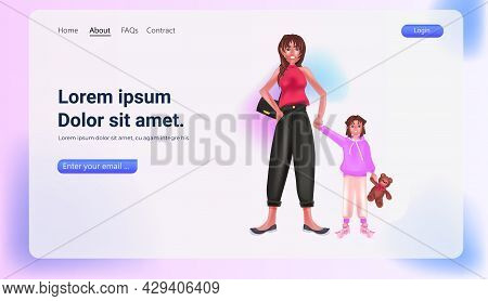 Mother With Daughter Standing Together Woman With Little Girl Spending Time Together Horizontal