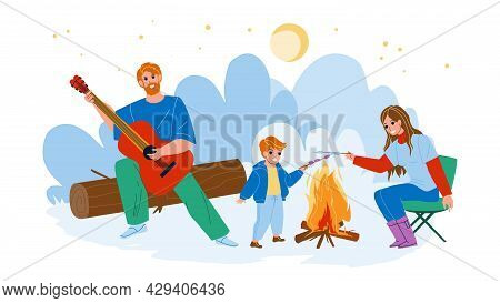 Family Picnic Enjoying Together Outdoor Vector. Father Playing On Guitar, Mother And Son Child Fryin
