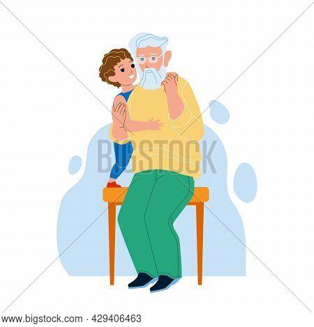 Grandson Embracing Grandparent Together Vector. Grandson Hugging Grandfather On Park Bench. Characte