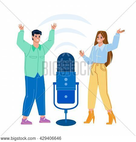 Virtual Voice Assistant Digital Technology Vector. Young Man And Woman Using Voice Assistant. Charac