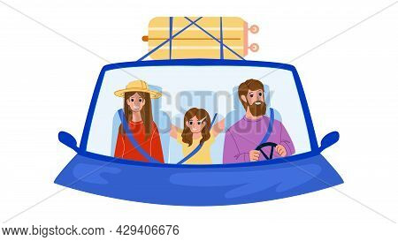 Family In Car Enjoy On Vacation Road Trip Vector. Man And Woman Parents And Girl Child Family In Car