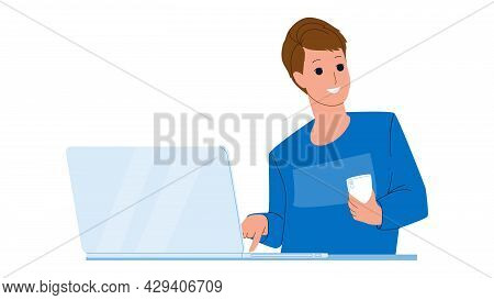 Contuct Us Customer Online Support Service Vector. Young Man Client Using Smartphone And Pushing Con