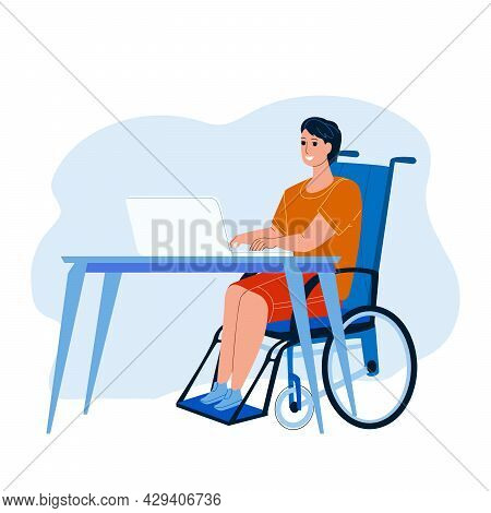 Disabled Worker At Workplace Remote Working Vector. Disabled Worker Sitting On Wheelchair Work Dista