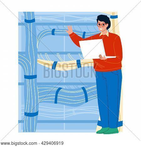 Server Administrator Testing Equipment Vector. Young Man Server Administrator Technician Examining S